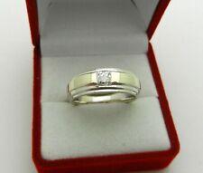Solid 18k Two Tone Gold Princess Cut Natural Diamond 0.40ct Men's Ring Band 9.4g