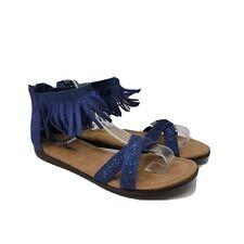 Minnetonka Womens Blue Back Zip Flat Fabric Fringe Gladiator Sandals Size US 3