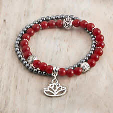 2 Stretch Bracelet Set, ROOT CHAKRA, Red Agate Hematite, Lotus Hamsa Beads Charm