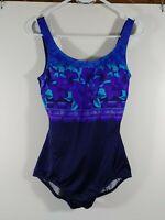 Speedo Women's One Piece Swim Suit, Size 12, Royal Blue Floral, #2451