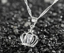 925 Sterling Silver Plating Women Fashion Imperial crown Pendant Necklace