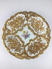 Meissen Porzellan Prunk Teller Schale Gold Blumen 1. Wahl 28,5 cm