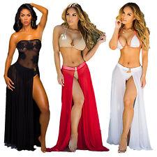 Women's Bikini Cover Up Sheer Beach Wear Maxi Skirt Sarong Pareo Dress Swimwear