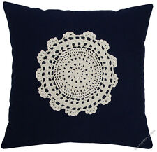Navy Blue Doily Decorative Throw Pillow Cover/Cushion Cover/Cotton/20x20""