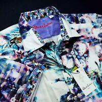 Robert Graham Embroidered Skull Heads Floral Vibrant Print Geometric Shirt 2XL