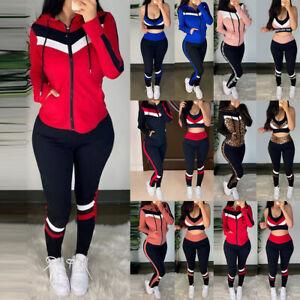 Womens 3PCS Long Sleeve Tracksuits Set Ladies Joggers Active Sports Lounge Wear