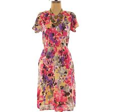 Croft & Barrow Wrap Dress Size 10 Knee Length Monet Pink Floral NEW Tag B49