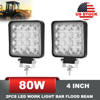2PCS 80W LED Industrial Work Light 4 Inch Flood Offroad Driving Lights SUV Truck