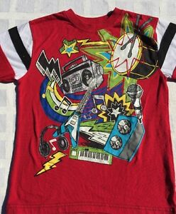 Faded Glory Band Instruments T Shirt Boys Sz 7 Red