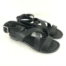 Breckelles Womens Sandals Strappy Ankle Strap Faux Leather Black Gladiator 6.5