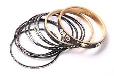Ten Bracelets Shiny Details Around (T459) Fantastic Ladies Black Glittery Set Of