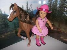 "Cowgirl outfit boots and hat fits 18""  girl doll - Pink nicki mckenna"