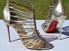 Christian Louboutin Milla Metallic Gold Leather Strappy Pumps Size 41.5 / 11.5