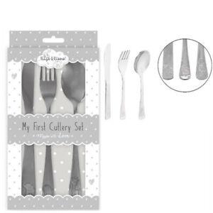 My First Cutlery Set Kids 3pcs Spoon Knife Fork Stainless Steel Toddler Food Fir