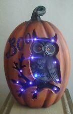 "Purple Boo Lighting Pumpkin w  Black Owl on Branch Harvest  Fall Halloween 13"""