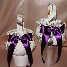 2 WHITE SNOW CAMO  FLOWER GIRL  BASKETS custom colored bows