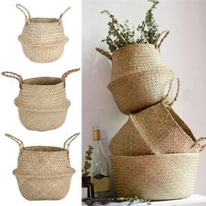 Seagrass Wickerwork Basket Rattan Hanging Planting Flower Pot Storage Basket