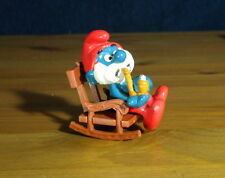 Smurfs Rocking Chair Super Smurf Papa Smoking Pipe PVC Figure Vintage Toy 40228