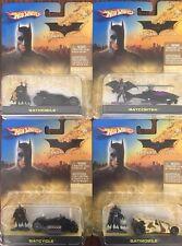 2005 Hot Wheels Set Of 4 Batman Begins Batcycle, 2 Batmobiles & Batcopter NIP