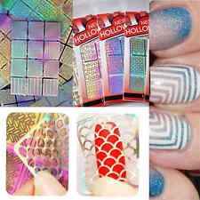 1 láminas 3D hueco uñas arte pegatina manicura herramienta de decoración Decal