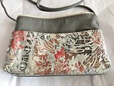 BORELLI LEATHER BAG PURSE SHOULDER CROSSBODY ABSTRACT DESIGN AND SUEDE INSIDE