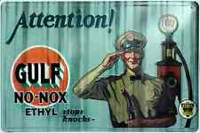 "GULF OIL ATTENTION NO-NOX ETHYL GASOLINE GAS METAL TIN 12X 18"" SIGN GARAGE BARN"
