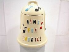 COOKIE JAR BELL AMERICAN BISQUE RING FOR COOKIES ♪ ♪ MUSIC LID w/ JINGLE BELL