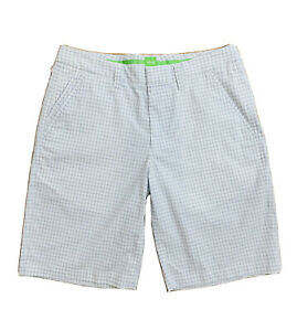 Hugo Boss Men's Shorts White Blue Checkered Chino Relaxed Fit Size 32 R
