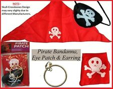 PIRATE Eye Patch BANDANA Earring 3pce Accessory PACK Buccaneer Costume Party NEW