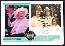 2002 Queen Mother Memoriam cover Grenada Mini Sheet & Virgin Islands BVI Coin