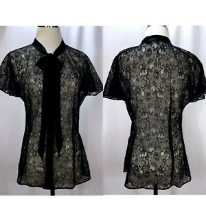 DOLCE & GABBANA Black Lace Silk Trim Bow Short Sleeve Top Size M IT42 $945