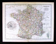 1883 Johnston Royal Atlas Map - France - Paris Marseille Lyon Tours Le Havre