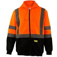 Men's ANSI Class 3 Sweatshirt, Full Zip Hooded, Fleece, Orange -H6611