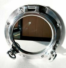 "Vintage 12"" Wall Mirror Canal Boat Silver Porthole-Window Ship Round Mirror"