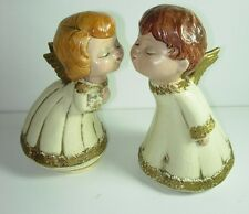 Vintage Girl & Boy Kissing Angels Paper Mache Ivory Gold Christmas Holiday Decor