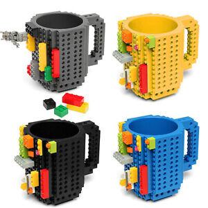 Creative DIY Puzzle Bricks Lego Mug Build On Blocks Coffee Tea Cup Gift Kids