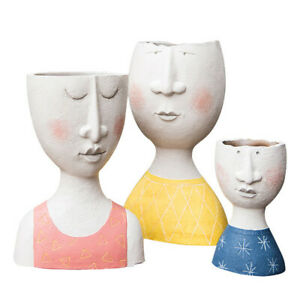 Art Portrait Flower Pot Vase Human Face Family Sculpture Plant Holder Nordic