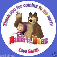 Personalised Masha and the Bear 35 Birthday Stickers Party Bag Cone Thank You