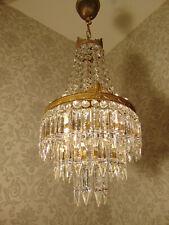 antik Kronleuchter Lüster Deckenlampe Messing Kristall  Frankreich ca. 1920