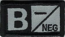 Grey Gray Black Blood Type B- Negative Patch VELCRO® BRAND Hook Fastener Compati