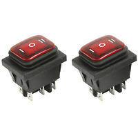 2x On-Off-On DC12V 6Pin Car Boat Light Rocker Toggle Switch Latching Waterproof