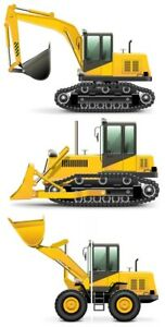 Construction Digger JCB Style Childrens Nursery Wall Stickers