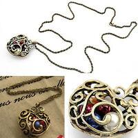 Cute Women Gift Hollow Heart Bead Retro Long Pendant sweater Chain Necklace