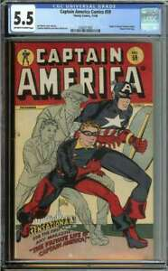 CAPTAIN AMERICA COMICS #59 CGC 5.5 OW/WH PAGES // ORIGIN RETOLD TIMELY 1946