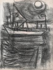JEANETTE WELTY CHELF Drawing BOAT AT SEA MOONLIGHT c1960 ABSTRACT IMPRESSIONIST