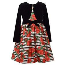 BONNIE JEAN Girls Plus 20.5 Floral Stripe Dress & Velvet Jacket Set NWT $74