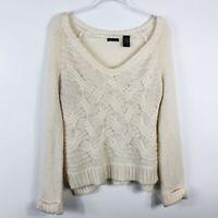 Moda International Size Medium Cream Ivory Sweater Mohair Wool Blend V Neck