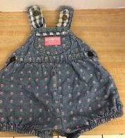 Infant Girls Vintage OSHKOSH B'GOSH Denim Floral Bubble Overalls Romper 3/6M