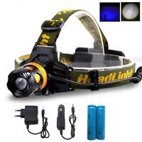 LED Headlamp 2 LED Head light Blue Yellow Fishing Flashlight Torch 18650 battery