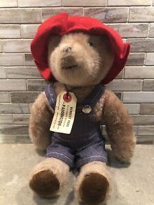 "Rare 13"" VINTAGE EDEN PADDINGTON TEDDY BEAR OVERALLS STUFFED ANIMAL PLUSH 1975"